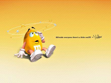 Обои У желтого m&m's(а) кружится голова ('Inside everyone there's little nut' - Yellow)