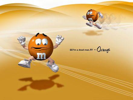 Обои Оранжевый m&m's перепрыгивает через неоновые полосы, на заднем плане - убегает ('I'm a dead man' - Orange)