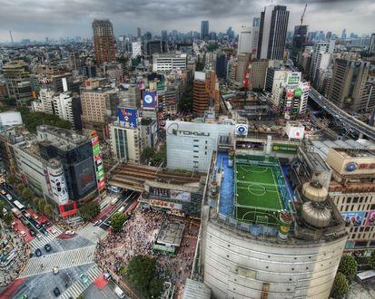 Обои Город Токио в час пик - вид сверху