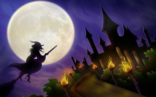 Обои Ведьма на метле подлетает к замку