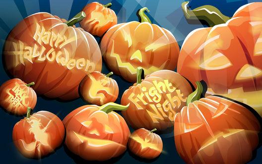 Обои Тыквы с разными вырезанными фразами и лицами (Happy Halloween, Fright Night)