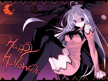 Обои Анимешная девушка-демон с чёрными крылышками на голове и кулончиком в виде «светильника Джека» на шее (Happy Halloween)