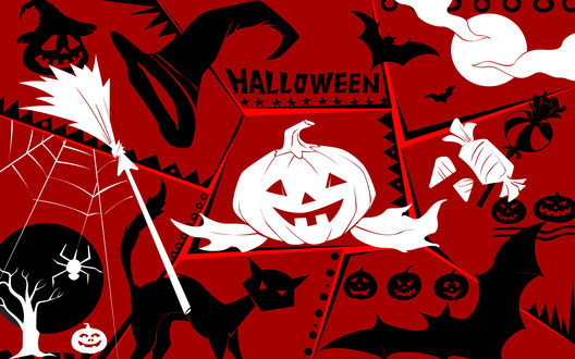 Обои Хэллоуин / Halloween. Тыква, метла, полная Луна, паутина с пауком, летучие мыши, леденцы