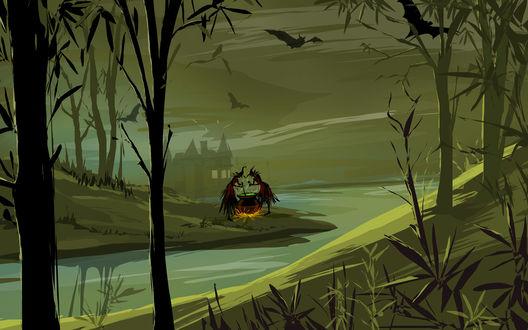 Обои Ведьмы варят зелье на берегу реки в тёмном лесу