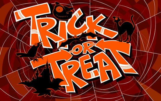 Обои Trick or Treat - фоном для надписи служит паутина, черный кот, летучие мыши, замок, вороньё, тыква, всё, что сопутствует этому празднику Halloween
