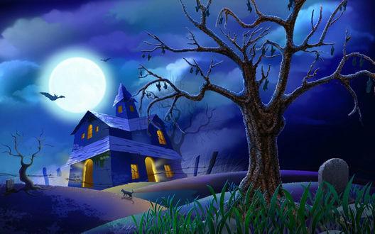 Обои Halloween - ночь на полнолуние, над заброшенным замком в небе летучие мыши, на переднем плане могильные плиты, вдали крадётся чёрный кот