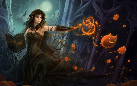 Обои Ведьма колдует в ночь на Хэллоуин
