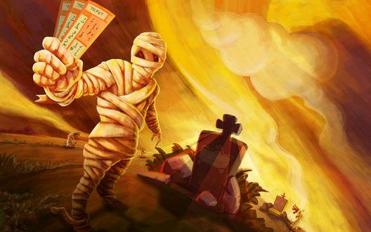 Обои Мумия продаёт билеты на кладбище, вдали между могильных плит из земли показывается рука мертвеца, чувствуется, что праздник Halloween приближается