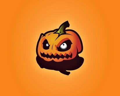Обои Зло взирающая тыквенная голова Джека в Хэллоуин / Haloween