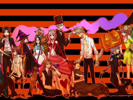 Обои Хеллоуин-вечеринка в стиле аниме девушки одеты в ведьм и мумий, мужчины в шляпах и сюртуках