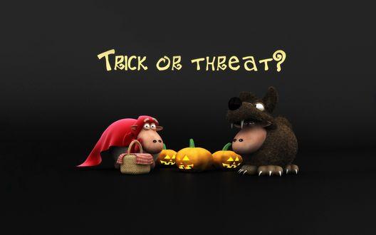 Обои Две овечки нарядились к хэллоуину, одна в костюме красной шапочки, другая в костюме волка (Trick or threat?)