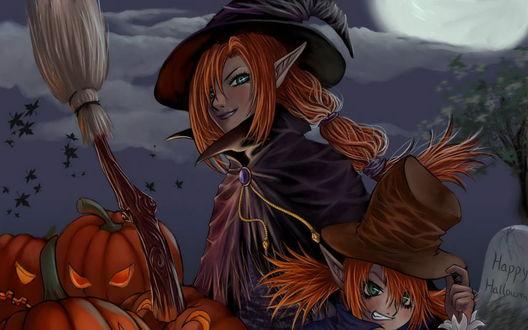 Обои Две рыжеволосые ведьмы около кучи  тыкв  и надгробья на котором написано (Happy Halloween)