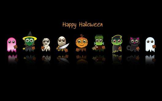 Обои Хэллоуинские чудики - призраки, ведьма, мумия, маньяк, светильник Джек, Франкенштейн, вампир и чёрный кот (Happy Hallowen, Trick or treat)