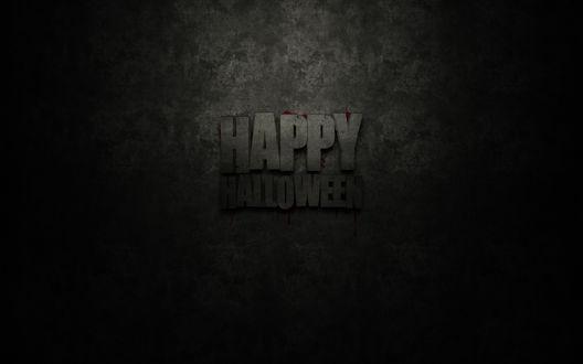 Обои Окровавленная надпись 'HAPPY HALLOWEEN' на сером фоне
