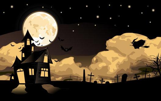 Обои Хэллоуинской ночью ведьма летит на шабаш в заброшенный дом возле старого кладбища