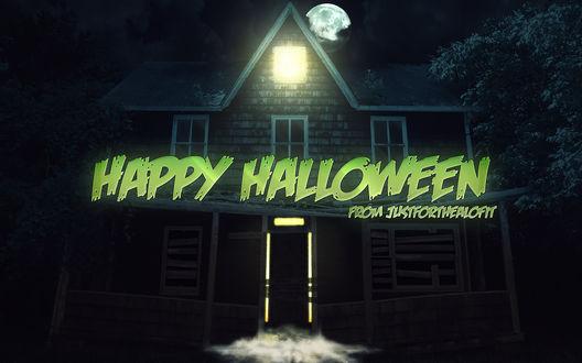 Обои Старый заброшенный дом хэллоуинской ночью (HAPPY HALLOWEEN from justforthealofit)