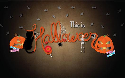 Обои Летучие мыши, скелеты и светильник Джека на надписи (This is Halloween)