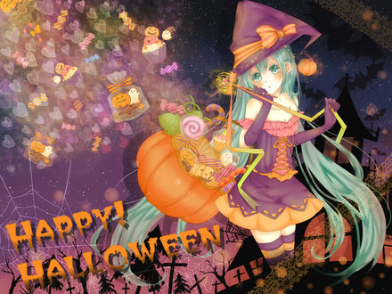 Обои Вокалоид Хатсуне Мику в Хэллоуин (Happy Halloween)