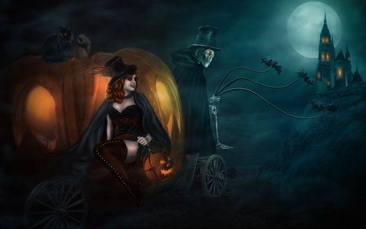 Обои Девушка в карете из тыквы и кучер-скелет направляются в замок/ 'Halloween Cinderella'
