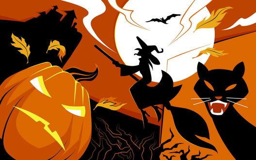 Обои Пришёл Хеллоуин - светильник Джека, кот, ведьма на помеле направляется к луне.