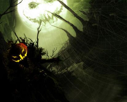 Обои Страшная хэллоуинская ночь и луна в виде светильника Джека в Хэллоуин / Haloween