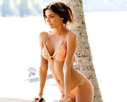 Обои Фото модель Миранда Керр в оранжевом купальнике у пальмы на берегу моря