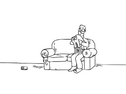 Обои Саймон не может отодрать своего кота от штанов, мультфильм 'Кот Саймона'