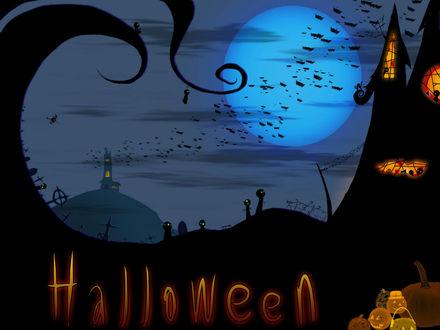 Обои Светильники Джека, ведьма в небе соревнуется в скорости со стаей летучих мышей, заброшенный замок, к которому направляется на шабаш разная нечисть, чёрный кот, всё это - Halloween