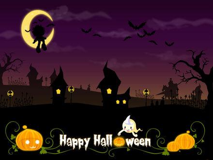 Обои Happy Halloween! Привидение держит в руках светильник Джека, вдали видны призраки, в небе летучие мыши  и мальчик, сидящий на серпе луны