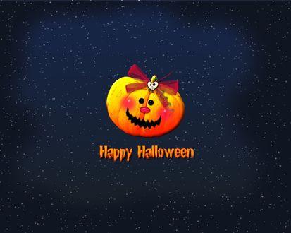 Обои Happy Halloween Светильник Джека на звёздном небе