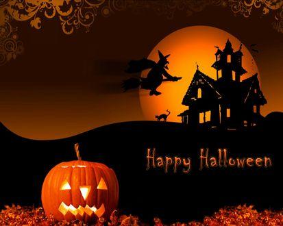 Обои Happy Halloween - надпись на фоне ведьмы в небе, светильника Джека, старого замка, кота и полной луны