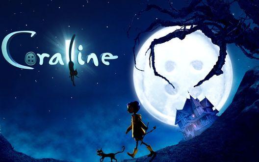 Обои Девочка с черной кошкой идет на фоне луны в виде пуговицы из мультфильма Каролина в стране кошмаров (Coraline)