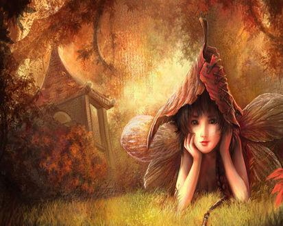 Обои Маленькая фея в лесной чаще мечтает о чём-то прекрасном, возможно, о принце на белом коне