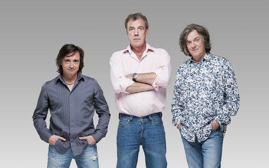 Обои Джереми Кларксон, Ричард Хаммонд и Джеймс Мэй ведущие передачи Топ Гир / Top Gear
