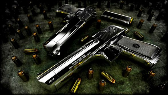 Обои Два блестящих пистолета вокруг которых лежат пули (50AE Desert eagle pistop Osrael military industries)