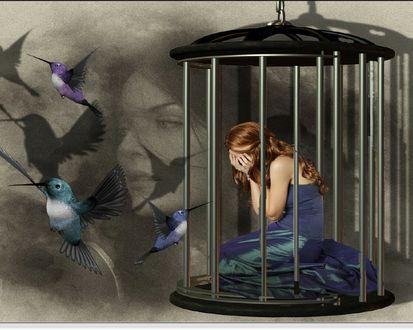 Обои Девушка плачет в клетке, птицы выпущены на волю