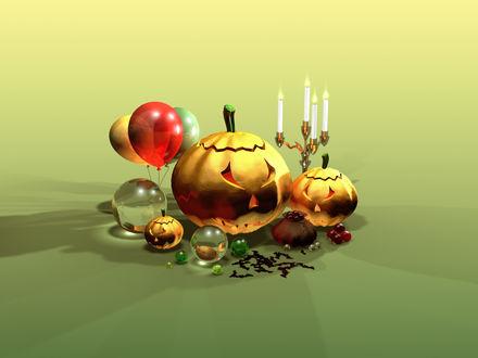 Обои К празднику Хэллоуин, свечи, тыква, воздушные шарики
