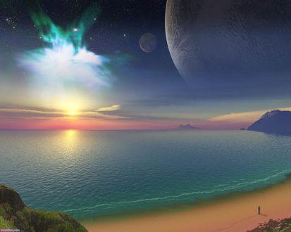 Обои Над морем виден космос