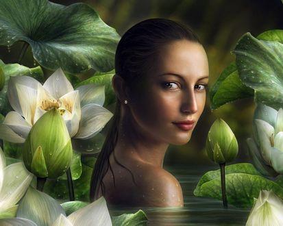 Женщина купается в пруду фото 299-716