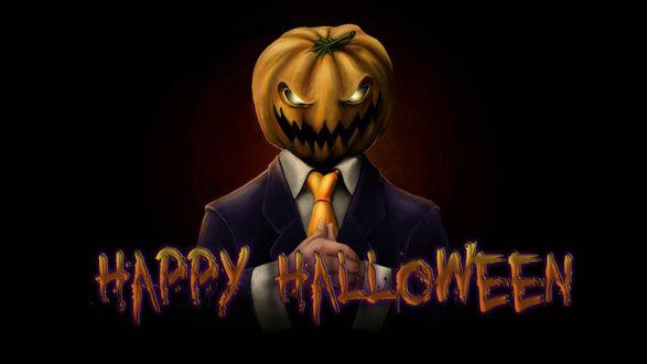 Обои Сам разбойник Джек и надпись 'Happy Halloween'