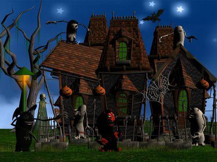 Обои На заброшенном, заросшем паутиной домишке висят светильники Джека, вокруг  бродит нечистая сила с чертями, в небе летают летучие мыши-Хеллоуин пришёл!