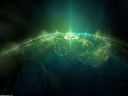 Обои Сияние на поверхности планеты. Лучи извиваются иероглифами. Быть может это Земля. А может и нет. Но зрелище просто потрясающее