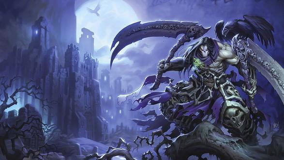 Обои Death / Смерть (главный герой игры Darksiders 2) с двумя косами в руках на одной из них сидит вороном (Прах) на фоне города и большой луны