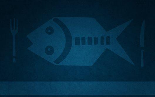 Обои Рыба, нож и вилка
