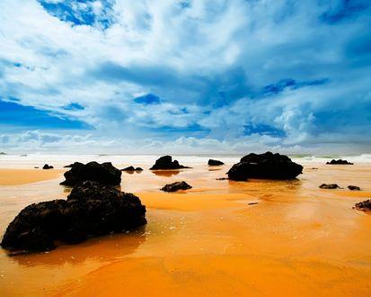 Обои Чёрные камни лежат на песчаном берегу у моря