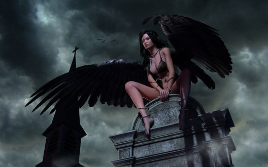 Обои Черный ангел на крыше храма