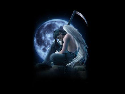 Обои Грустный ангел смерти с косой сидит на фоне луны под дождём