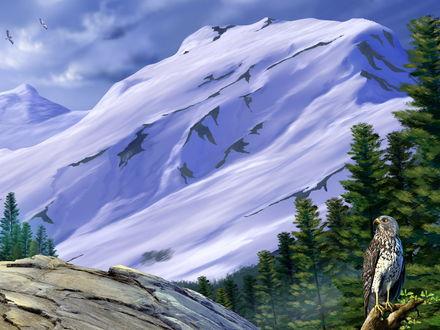 Обои Орел сидит на фоне заснеженных горных вершин