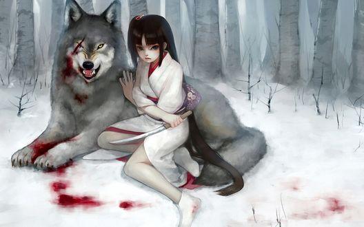 Обои Девушка с ножом рядом с раненным волком