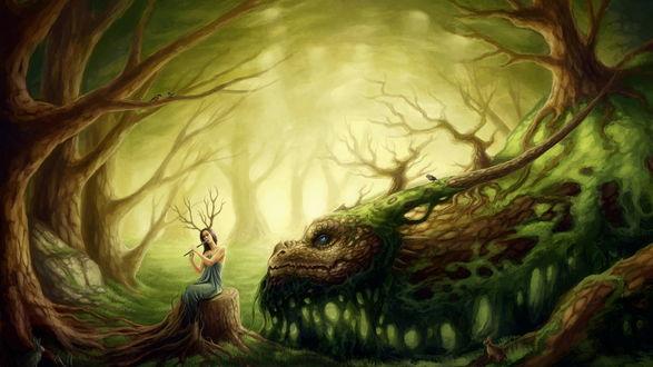 Обои Девушка друид играет на флейте рядом с ней дракон